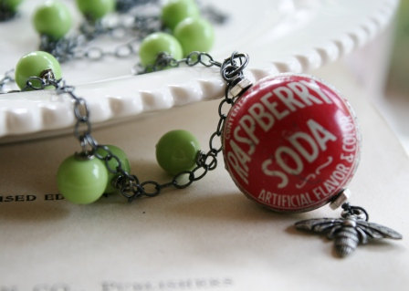 Fanta Raspberry Bottle Cap Necklace - Vintage Bottle Cap Pendant, Vintage Glass, Oxidized Sterling Silver