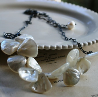 Flutter Necklace - Shell and Oxidized Sterling Silver